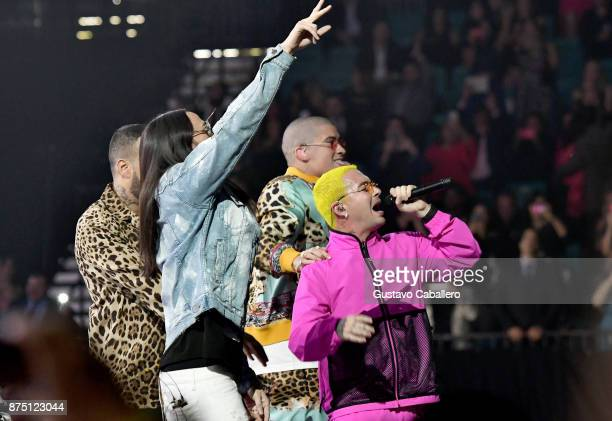 Steve Aoki Bad Bunny and J Balvin perform onstage during The 18th Annual Latin Grammy Awards at MGM Grand Garden Arena on November 16 2017 in Las...