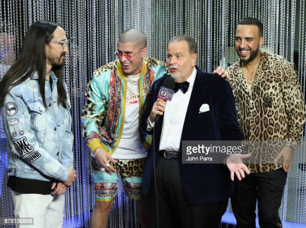 Steve Aoki Bad Bunny Raul De Molina and French Montana onstage during The 18th Annual Latin Grammy Awards at MGM Grand Garden Arena on November 16...