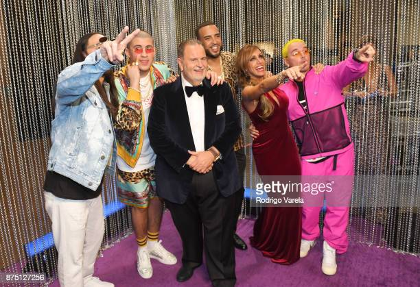 Steve Aoki Bad Bunny Raul De Molina French Montana Lili Estefan and J Balvin attend The 18th Annual Latin Grammy Awards at MGM Grand Garden Arena on...