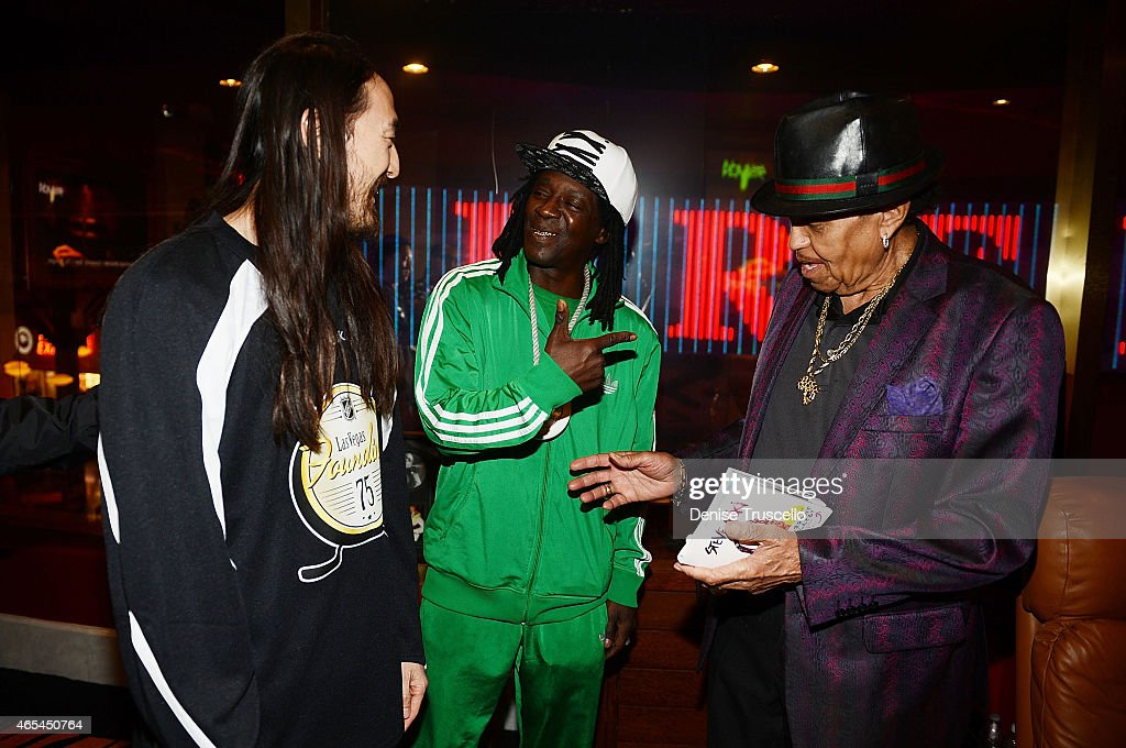 Steve Aoki, Flavor Flav and Joe Jackson during produce/DJ Steve Aoki's Brenden 'Celebrity' Star presentation at Palms Casino Resort on March 6, 2015 in Las Vegas, Nevada.