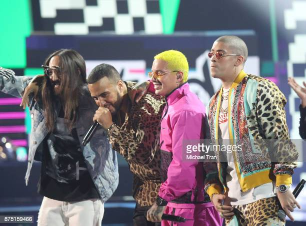 Steve Aoki French Montana J Balvin and Bad Bunny perform onstage during the 18th Annual Latin Grammy Awards held at MGM Grand Garden Arena on...