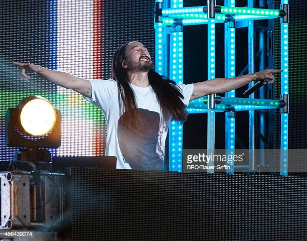 Steve Aoki is seen on 'Jimmy Kimmel Live' on September 30 2014 in Los Angeles California