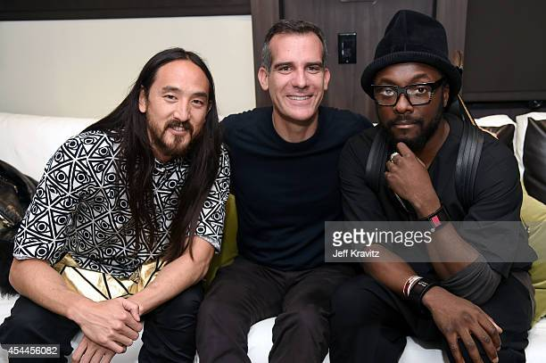 DJ Steve Aoki LA Mayor Eric Garcetti and william attend day 2 of the 2014 Budweiser Made in America Festival at Los Angeles Grand Park on August 31...