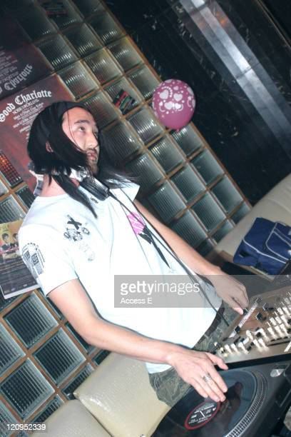 Steve Aoki of Dim Mak Records during Benji Madden of Good Charlotte and Steve Aoki of Dim Mak Records DJ at The Lexington Queen in Tokyo June 28 2005...