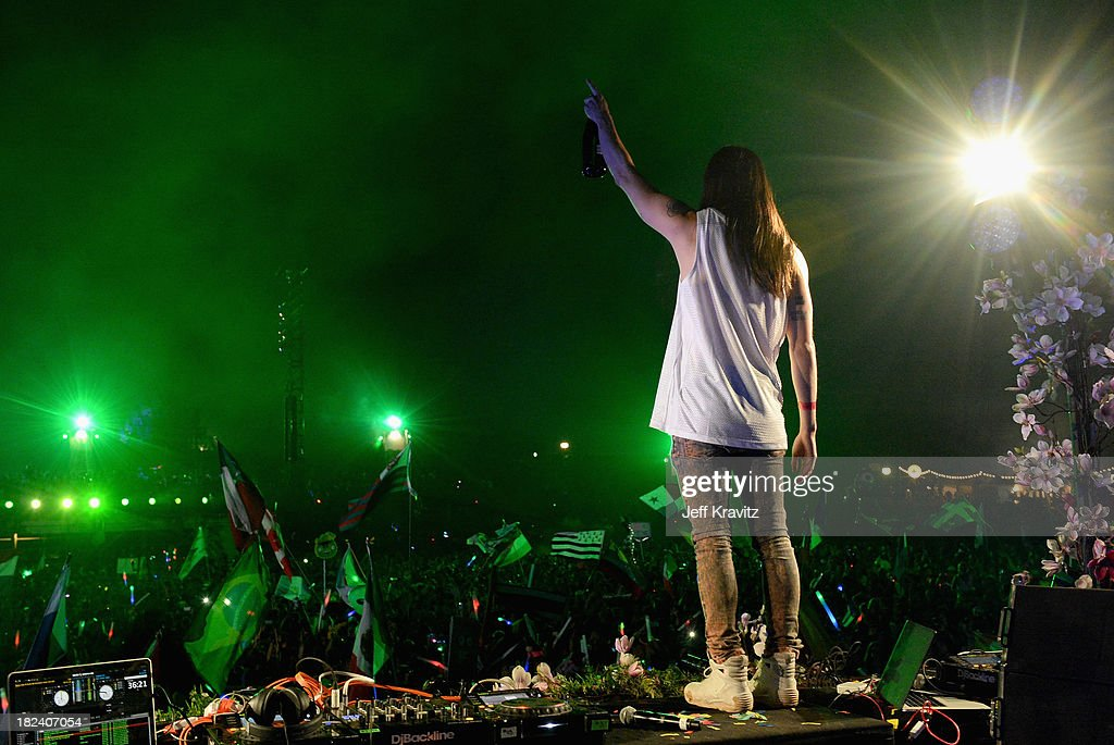 Steve Aoki onstage at TomorrowWorld Electronic Music Festival on September 28, 2013 in Chattahoochee Hills, Georgia.