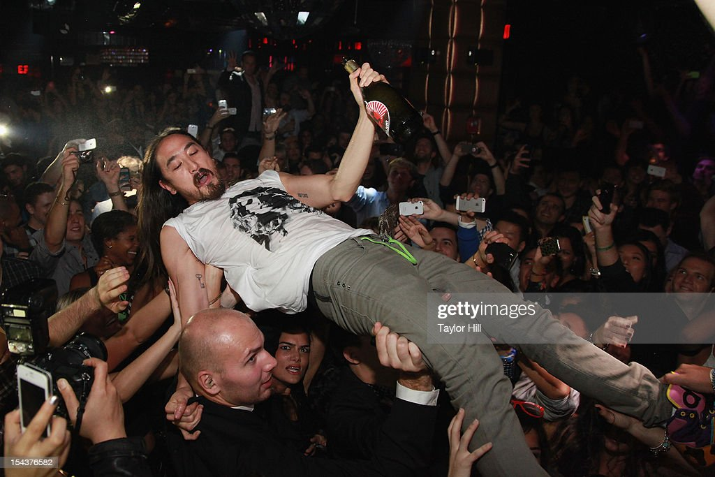 DJ <a gi-track='captionPersonalityLinkClicked' href=/galleries/search?phrase=Steve+Aoki&family=editorial&specificpeople=732001 ng-click='$event.stopPropagation()'>Steve Aoki</a> performs at LAVO on October 18, 2012 in New York City.