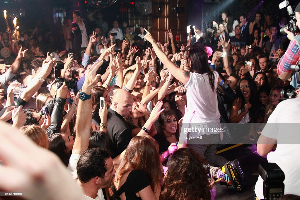 DJ Steve Aoki performs at LAVO on October 18, 2012 in New York City.