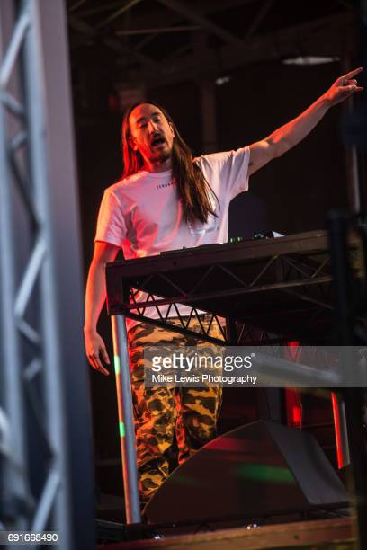 Steve Aoki performs at the Champions League Festival on June 2 2017 in Cardiff Wales