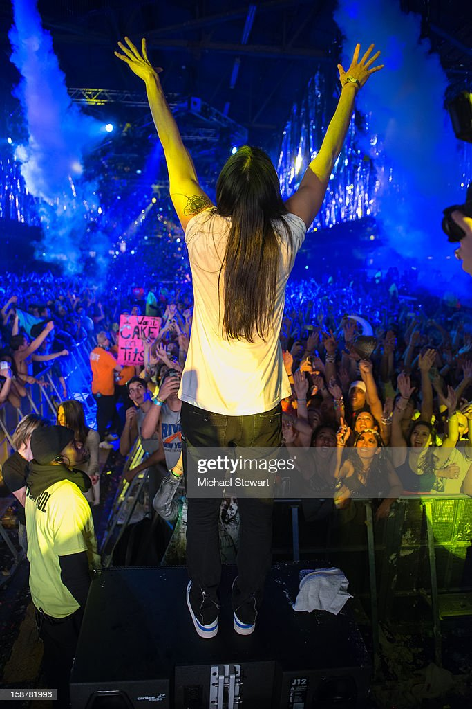 DJ Steve Aoki performs during 2012 Aokify NYC at Pier 94 on December 27, 2012 in New York City.