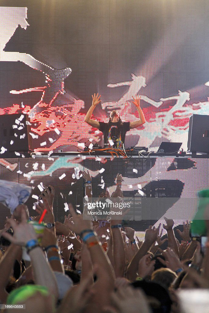 Steve Aoki performs during the 2013 Hangout Music Festival on May 19, 2013 in Gulf Shores, Alabama.