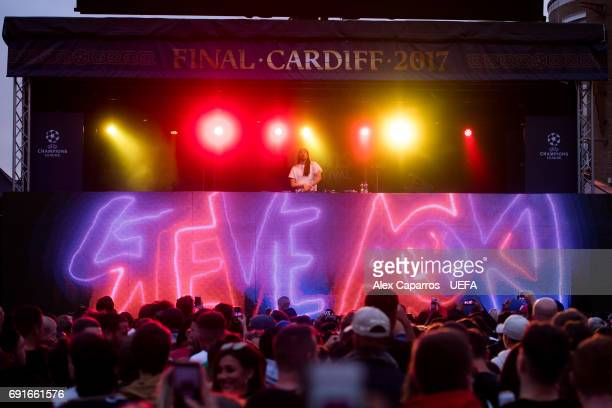 Steve Aoki performs during the Champions Festival prior to the UEFA Champions League Final between Juventus and Real Madrid on June 2 2017 in Cardiff...