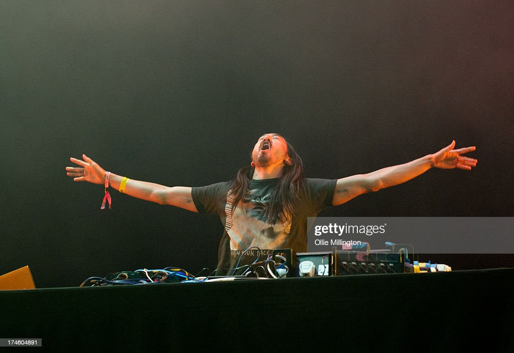 Steve Aoki performs on stage on Day 2 of Global Gathering 2013 on July 27, 2013 in Stratford-upon-Avon, England.