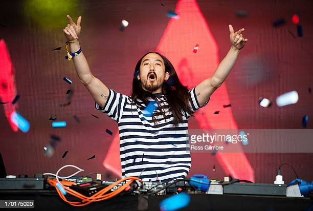 Steve Aoki performs on stage on Day 2 of Rockness Festival 2013 at Clune Farm Loch Ness on June 8 2013 in Inverness Scotland