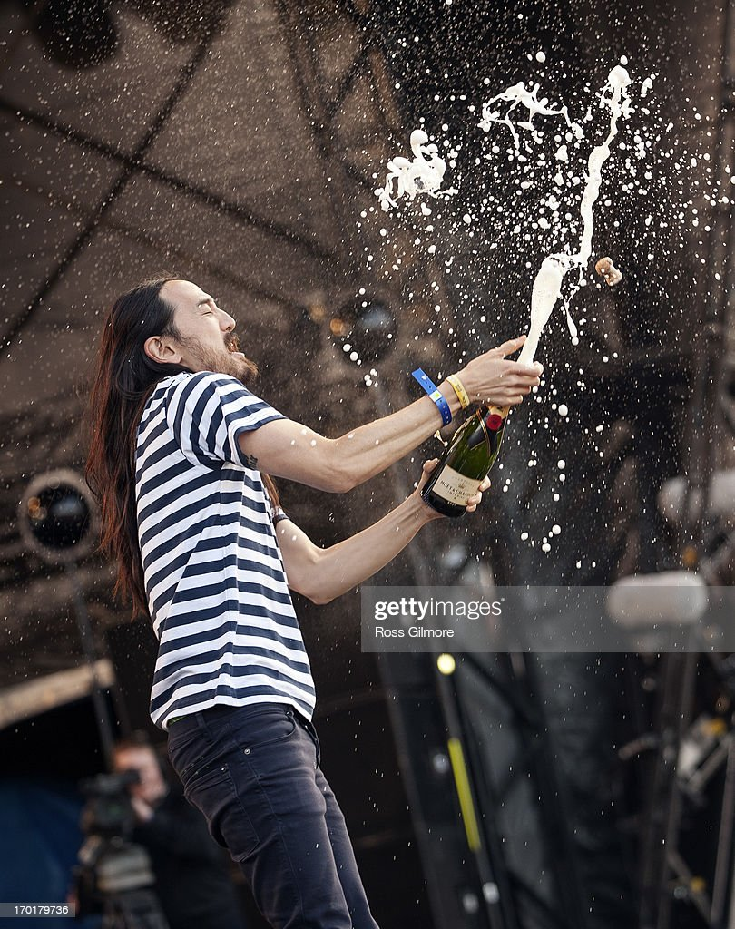 Steve Aoki performs on stage on Day 2 of Rockness Festival 2013 at Clune Farm, Loch Ness on June 8, 2013 in Inverness, Scotland.