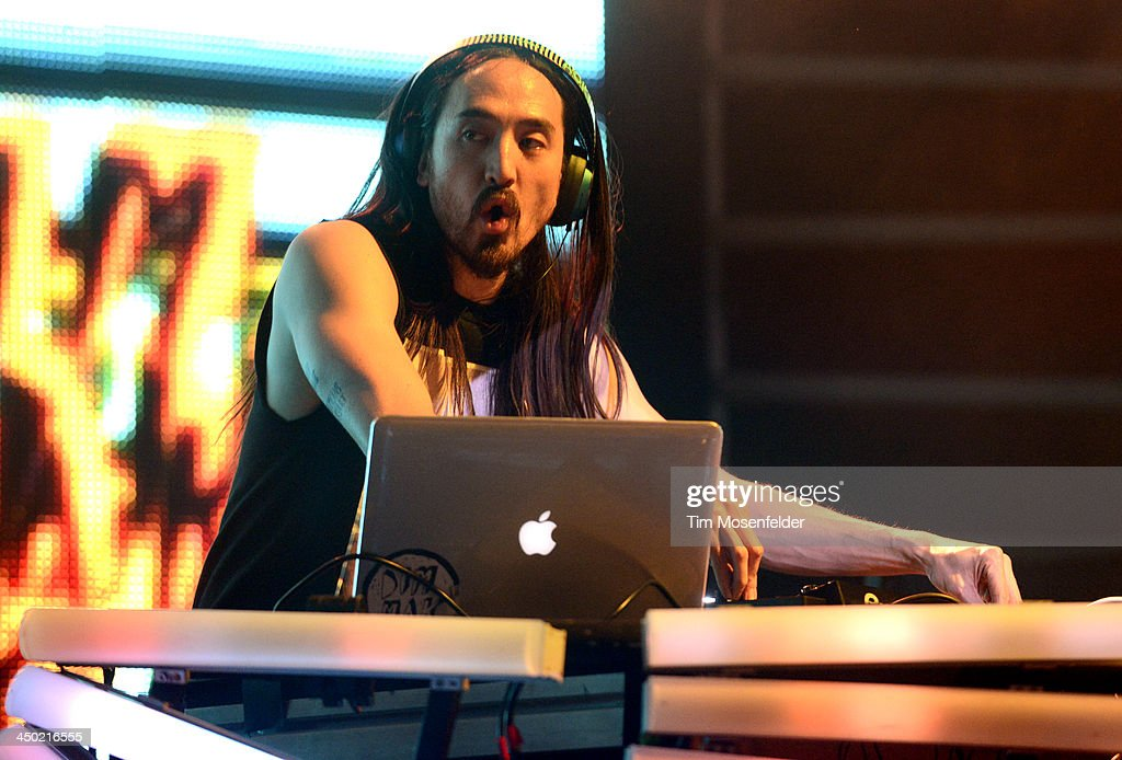 Steve Aoki performs part of his Aokify America Tonight tour at the Bill Graham Civic Auditorium on November 16, 2013 in Oakland, California.