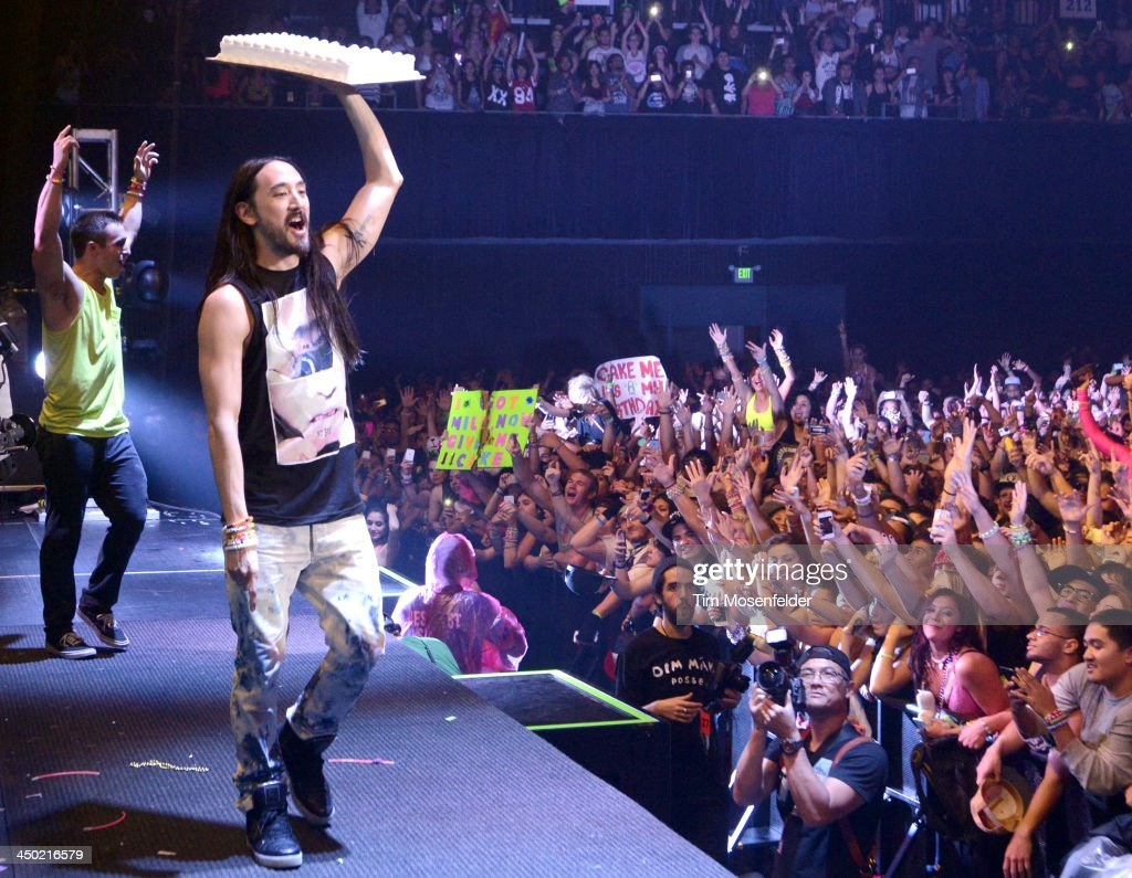 <a gi-track='captionPersonalityLinkClicked' href=/galleries/search?phrase=Steve+Aoki&family=editorial&specificpeople=732001 ng-click='$event.stopPropagation()'>Steve Aoki</a> performs part of his Aokify America Tonight tour at the Bill Graham Civic Auditorium on November 16, 2013 in Oakland, California.