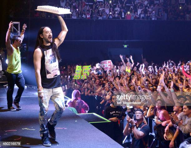 Steve Aoki performs part of his Aokify America Tonight tour at the Bill Graham Civic Auditorium on November 16 2013 in Oakland California