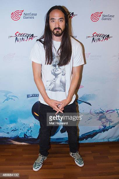 Steve Aoki poses for a photo before performing a concert hosted by NetEase Games to celebrate the launch of their first mobile game in the West...