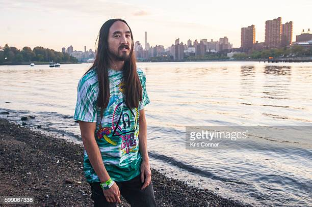 Steve Aoki poses for a photo during the 2016 Electric Zoo Festival at Randall's Island on September 3 2016 in New York City