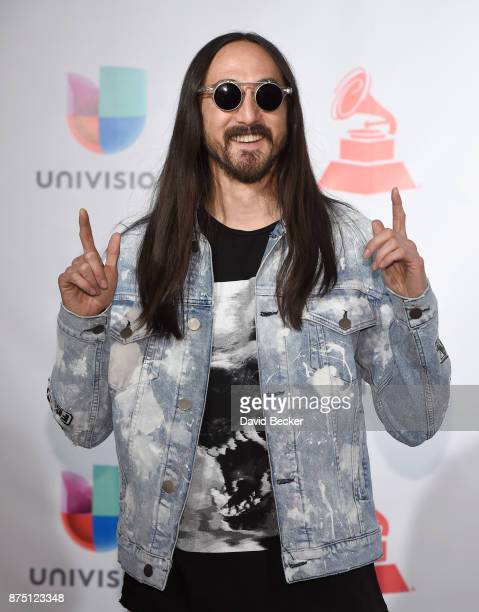 Steve Aoki poses in the press room during The 18th Annual Latin Grammy Awards at MGM Grand Garden Arena on November 16 2017 in Las Vegas Nevada