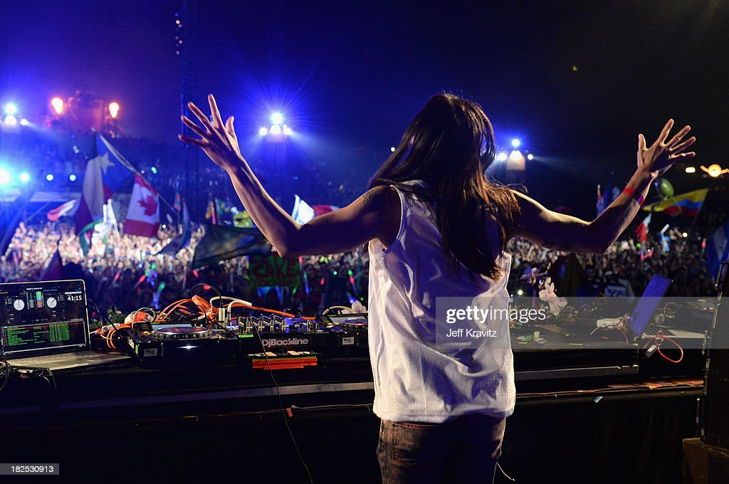 Steve Aoki spins onstage at TomorrowWorld Electronic Music Festival on September 28, 2013 in Chattahoochee Hills, Georgia.