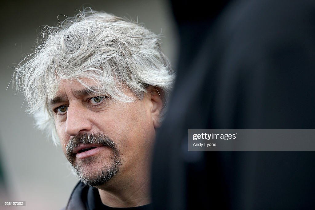 Steve Asmussen the trainer of Creator and Gun Runner talks with the media during the morning training for the 2016 Kentucky Derby at Churchill Downs on May 04, 2016 in Louisville, Kentucky.