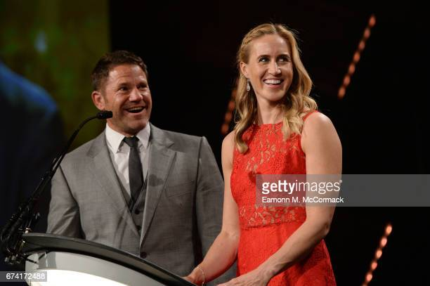 Steve Backshall and Helen Glover present the Young Agency of the Year award during the BT Sport Industry Awards 2017 at Battersea Evolution on April...