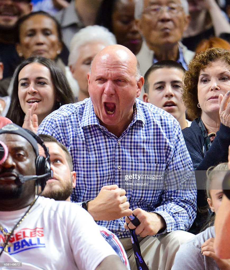 <a gi-track='captionPersonalityLinkClicked' href=/galleries/search?phrase=Steve+Ballmer&family=editorial&specificpeople=211258 ng-click='$event.stopPropagation()'>Steve Ballmer</a> attends a basketball game between the Oklahoma City Thunder and the Los Angeles Clippers at Staples Center on October 30, 2014 in Los Angeles, California.