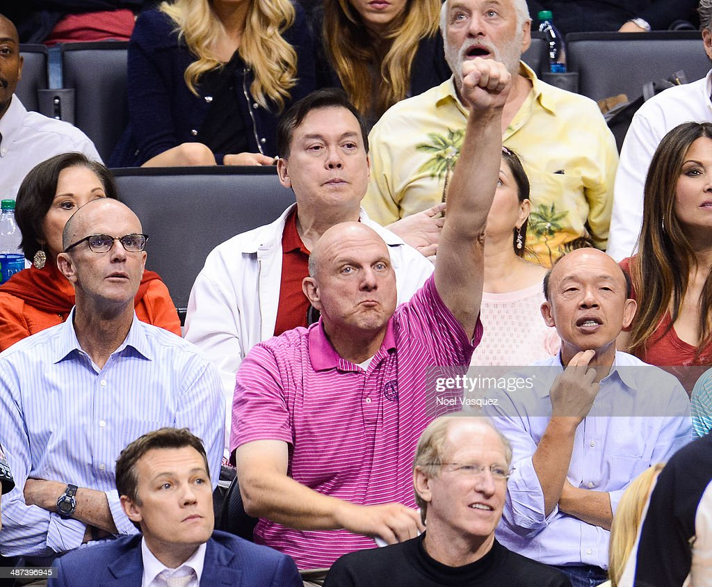 <a gi-track='captionPersonalityLinkClicked' href=/galleries/search?phrase=Steve+Ballmer&family=editorial&specificpeople=211258 ng-click='$event.stopPropagation()'>Steve Ballmer</a> attends an NBA playoff game between the Golden State Warriors and the Los Angeles Clippers at Staples Center on April 29, 2014 in Los Angeles, California.