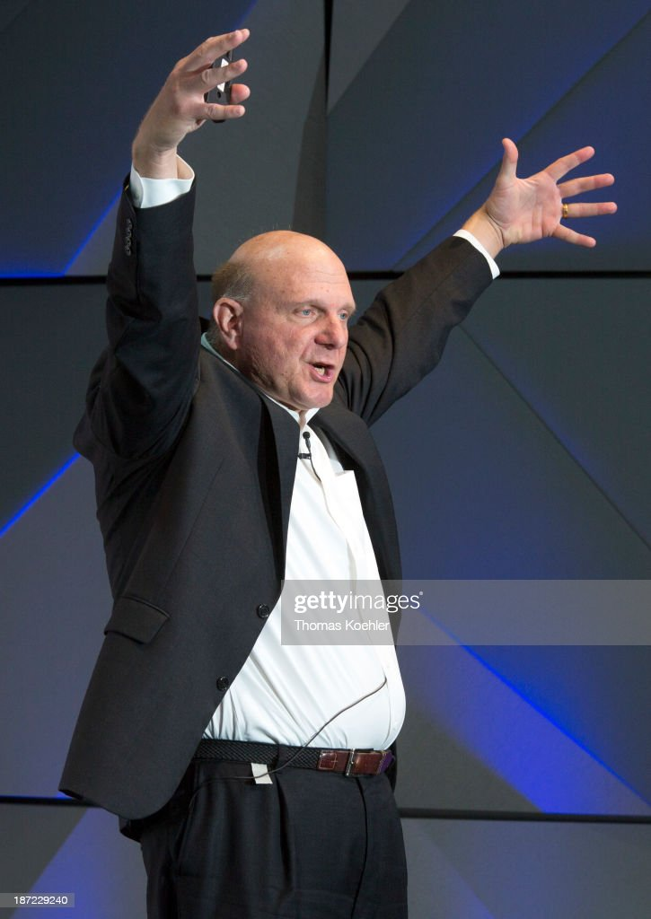 <a gi-track='captionPersonalityLinkClicked' href=/galleries/search?phrase=Steve+Ballmer&family=editorial&specificpeople=211258 ng-click='$event.stopPropagation()'>Steve Ballmer</a>, CEO Microsoft, speaks during the opening of the new Microsoft Center Berlin on November 7, 2013 in Berlin, Germany. The Microsoft Center Berlin, part of a new worldwide initiative called Microsoft Ventures, includes support for startups, conference rooms and the company's 'Digital Eatery,' a cafe and showroom on the ground floor that lets customers try out Microsoft products along with locally-sourced dishes.