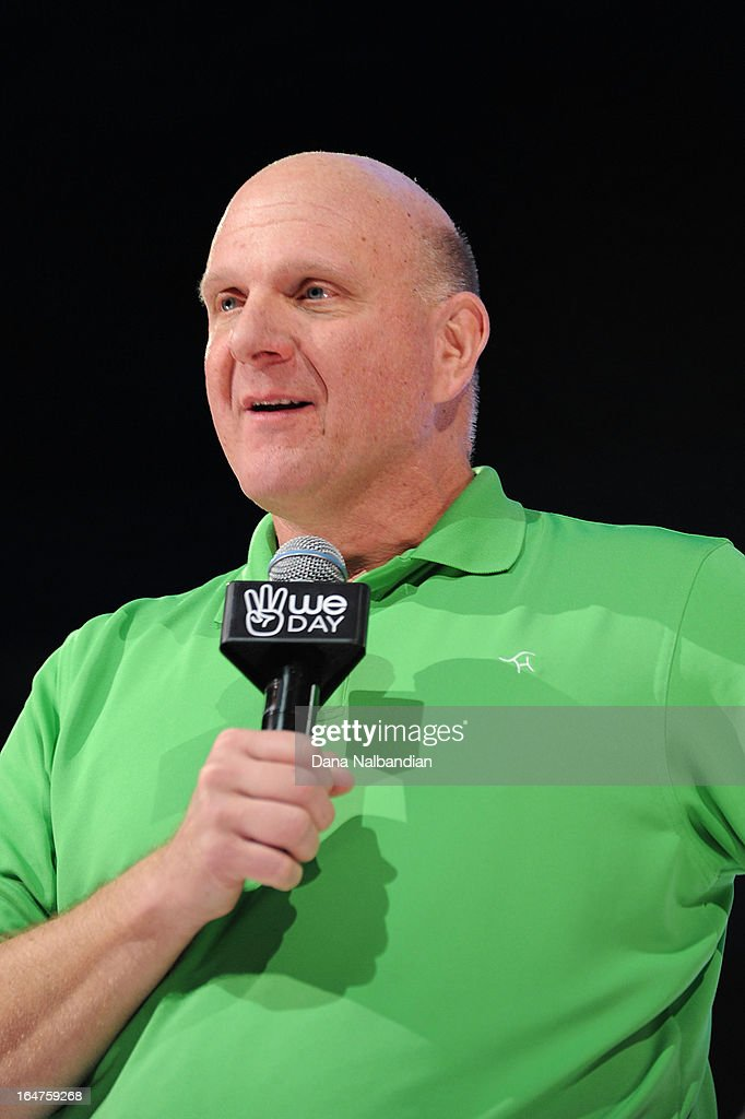 Steve Ballmer, CEO of Microsoft, co-title sponsor for We Day Seattle welcomes and thanks the crowd of 15,000 students for their passion and commitment to service at the KeyArena at Seattle Center on March 27, 2013.