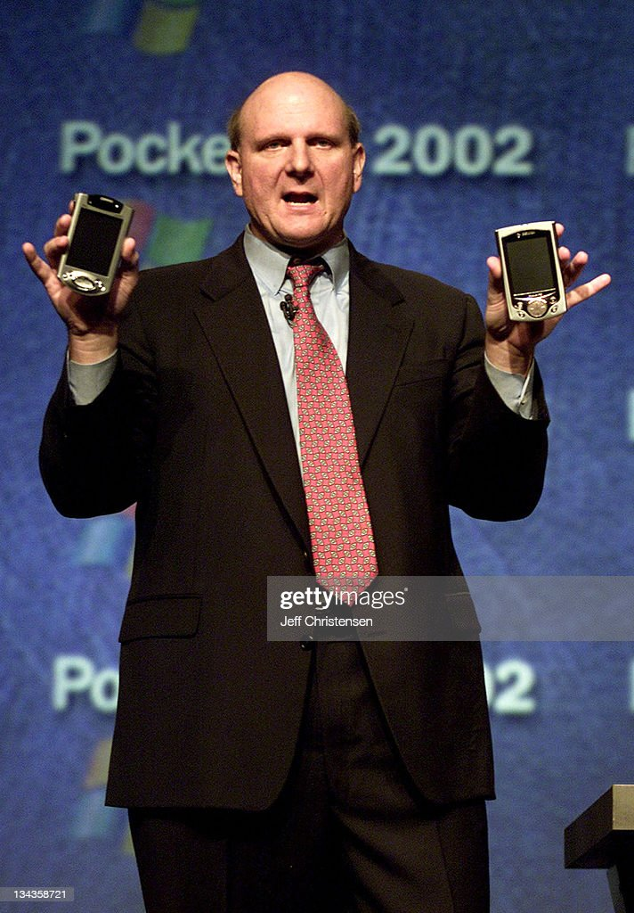 <a gi-track='captionPersonalityLinkClicked' href=/galleries/search?phrase=Steve+Ballmer&family=editorial&specificpeople=211258 ng-click='$event.stopPropagation()'>Steve Ballmer</a>, CEO of Microsoft holds a new Compaq pocket PC and a Casio pocket PC at the launch of Pocket PC 2002 in San Francisco, October 4, 2001. Ballmer announced the availability of the new Pocket PC 2002-based devices that went on sale Ocotber 4. 'Pocket PC 2002 makes a great mobile platform even better,' Ballmer told reporters at the event.