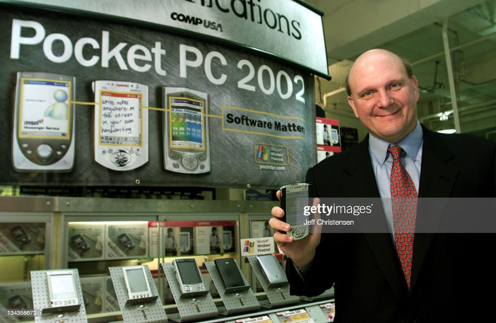 <a gi-track='captionPersonalityLinkClicked' href=/galleries/search?phrase=Steve+Ballmer&family=editorial&specificpeople=211258 ng-click='$event.stopPropagation()'>Steve Ballmer</a>, CEO of Microsoft holds a new Compaq pocket PC at the CompUSA store in San Francisco, October 4, 2001. Ballmer announced the availability of the new Pocket PC 2002-based devices that went on sale Ocotber 4. 'Pocket PC 2002 makes a great mobile platform even better,' Ballmer told reporters at the event.