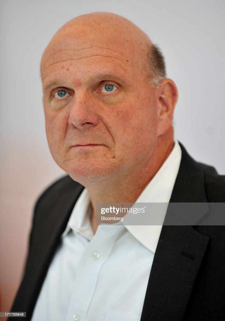 <a gi-track='captionPersonalityLinkClicked' href=/galleries/search?phrase=Steve+Ballmer&family=editorial&specificpeople=211258 ng-click='$event.stopPropagation()'>Steve Ballmer</a>, chief executive officer of Microsoft Corp., attends the grand opening of a company store in Troy, Michigan, U.S., on, Friday, June 28, 2013. Microsoft, which has been struggling with the inability of outside retailers to effectively display its products, aims to generate more enthusiasm for them by opening its own stores. Photographer: Bryan Mitchell/Bloomberg via Getty Images