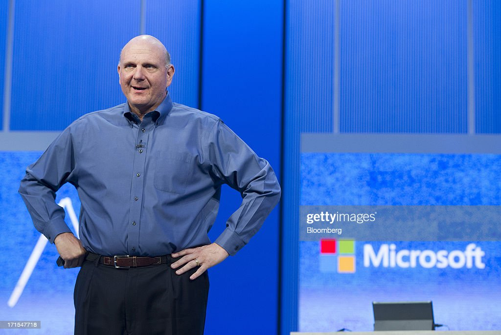 Steve Ballmer, chief executive officer of Microsoft Corp., delivers the keynote during the Microsoft Build Developers Conference in San Francisco, California, U.S., on Wednesday, June 26, 2013. Facebook Inc. is building an application for Microsoft Corp.'s Windows 8, adding one of the most popular programs still missing from the operating system designed to help Microsoft gain tablet customers. Photographer: David Paul Morris/Bloomberg via Getty Images