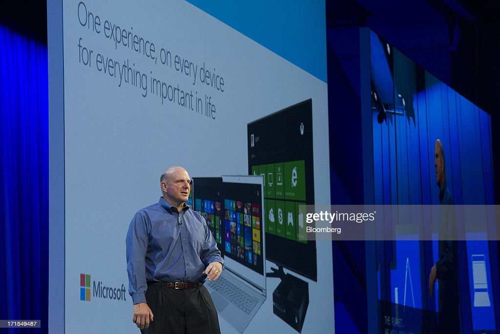 <a gi-track='captionPersonalityLinkClicked' href=/galleries/search?phrase=Steve+Ballmer&family=editorial&specificpeople=211258 ng-click='$event.stopPropagation()'>Steve Ballmer</a>, chief executive officer of Microsoft Corp., delivers the keynote during the Microsoft Build Developers Conference in San Francisco, California, U.S., on Wednesday, June 26, 2013. Facebook Inc. is building an application for Microsoft Corp.'s Windows 8, adding one of the most popular programs still missing from the operating system designed to help Microsoft gain tablet customers. Photographer: David Paul Morris/Bloomberg via Getty Images