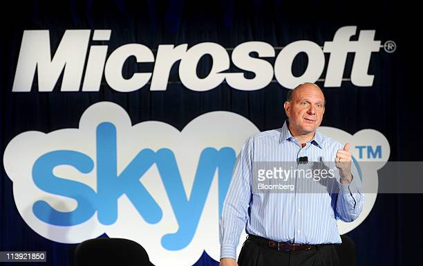 Steve Ballmer chief executive officer of Microsoft Corp discusses Microsoft's acquisition of Skype Technologies SA in San Francisco California US on...