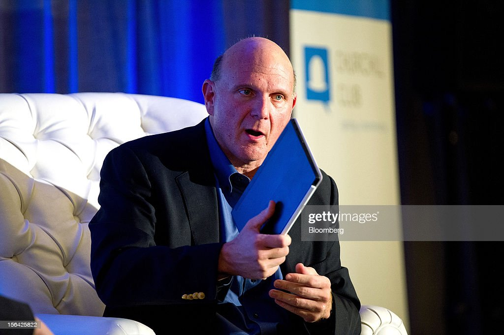 <a gi-track='captionPersonalityLinkClicked' href=/galleries/search?phrase=Steve+Ballmer&family=editorial&specificpeople=211258 ng-click='$event.stopPropagation()'>Steve Ballmer</a>, chief executive officer of Microsoft Corp., holds a Microsoft Surface tablet as he speaks during an event at the Churchill Club in Santa Clara, California, U.S., on Wednesday, Nov. 14, 2012. Microsoft Corp's Ballmer said the maker of Windows programs must exploit the opportunity to combine hardware and software as it challenges Apple Inc.'s iPad with the Surface tablet computer. Photographer: David Paul Morris/Bloomberg via Getty Images