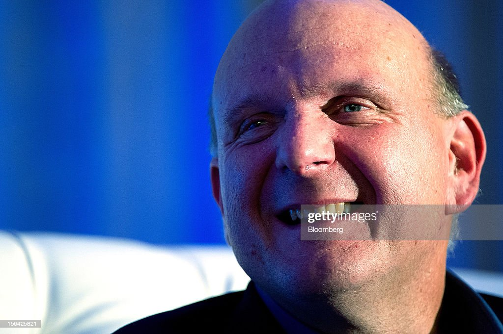 Steve Ballmer, chief executive officer of Microsoft Corp., pauses while speaking during an event at the Churchill Club in Santa Clara, California, U.S., on Wednesday, Nov. 14, 2012. Microsoft Corp's Ballmer said the maker of Windows programs must exploit the opportunity to combine hardware and software as it challenges Apple Inc.'s iPad with the Surface tablet computer. Photographer: David Paul Morris/Bloomberg via Getty Images