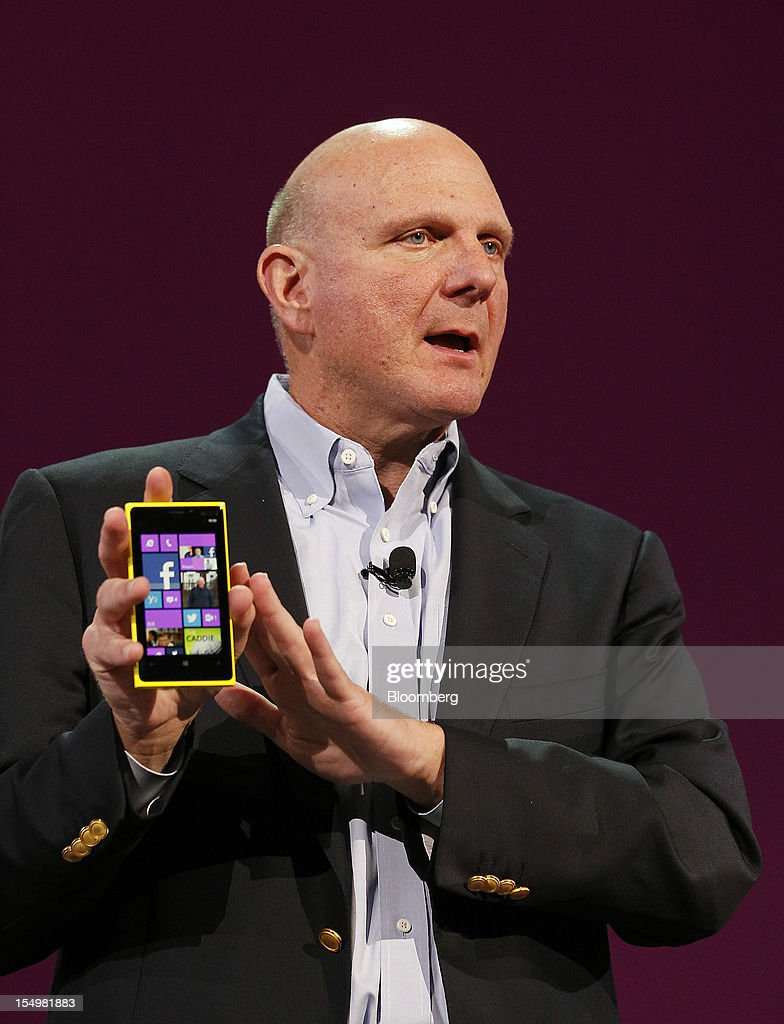 <a gi-track='captionPersonalityLinkClicked' href=/galleries/search?phrase=Steve+Ballmer&family=editorial&specificpeople=211258 ng-click='$event.stopPropagation()'>Steve Ballmer</a>, chief executive officer of Microsoft Corp., speaks at an event to unveil Windows Phone 8 software in San Francisco, California, U.S., on Monday, Oct. 29, 2012. Microsoft Corp. unveiled a new version of its software for smartphones today, redoubling an effort to regain market share lost to Apple Inc. and Google Inc. Photographer: Tony Avelar/Bloomberg via Getty Images