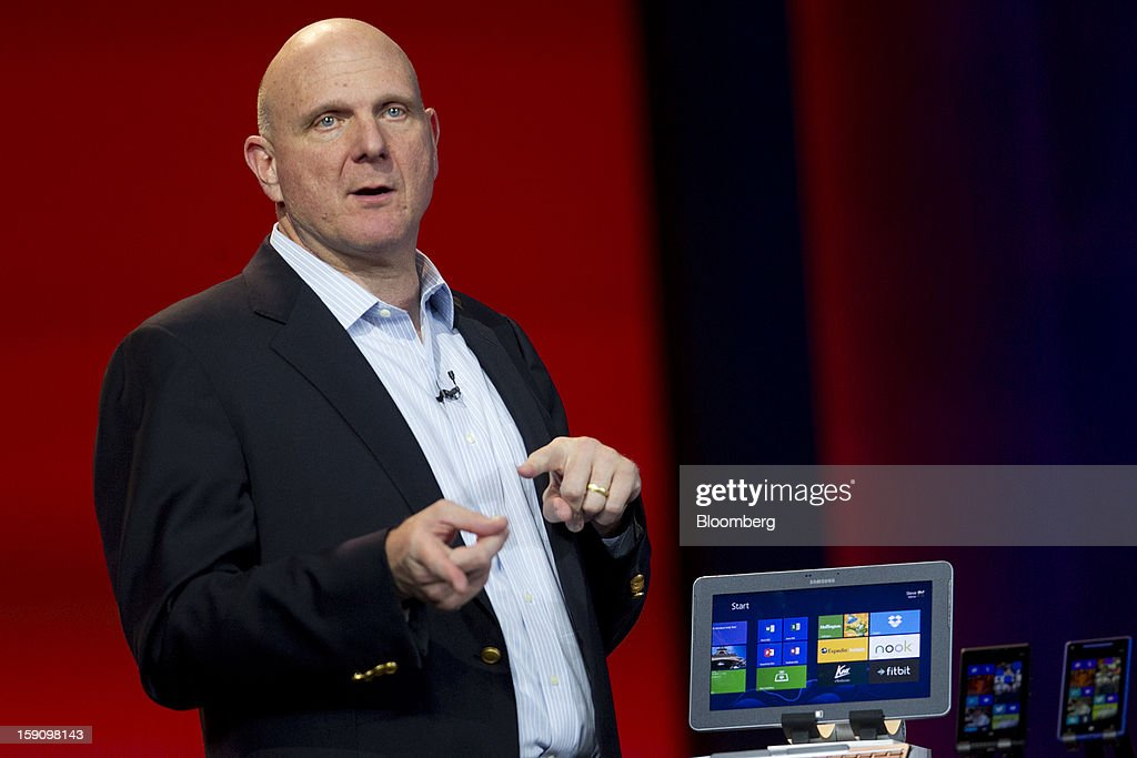 <a gi-track='captionPersonalityLinkClicked' href=/galleries/search?phrase=Steve+Ballmer&family=editorial&specificpeople=211258 ng-click='$event.stopPropagation()'>Steve Ballmer</a>, chief executive officer of Microsoft Corp., speaks during the Qualcomm Inc. keynote address at the 2013 Consumer Electronics Show in Las Vegas, Nevada, U.S., on Monday, Jan. 7, 2013. The 2013 CES trade show, which runs until Jan. 11, is the world's largest annual innovation event that offers an array of entrepreneur focused exhibits, events and conference sessions for technology entrepreneurs. Photographer: Andrew Harrer/Bloomberg via Getty Images
