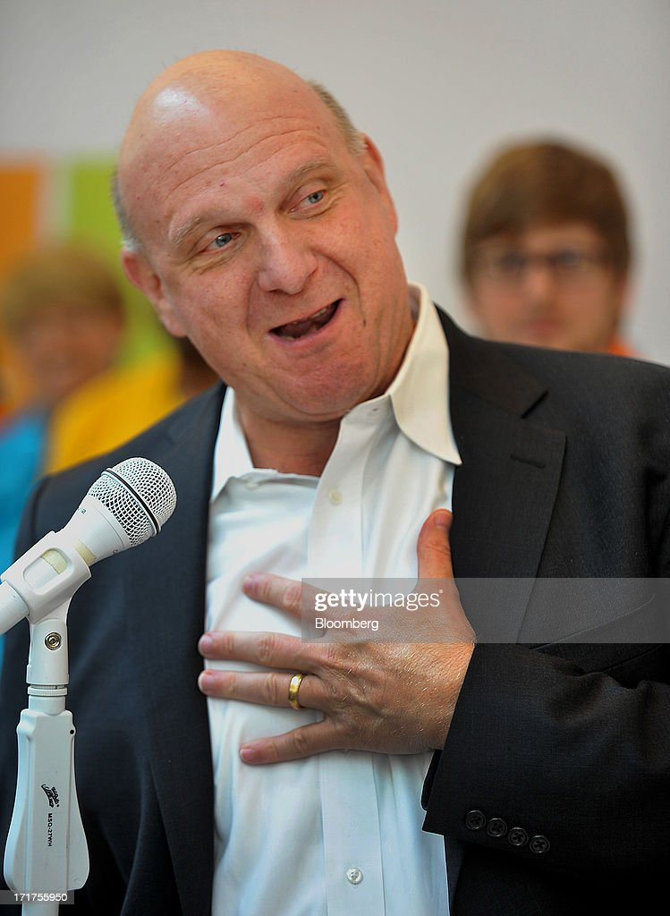 <a gi-track='captionPersonalityLinkClicked' href=/galleries/search?phrase=Steve+Ballmer&family=editorial&specificpeople=211258 ng-click='$event.stopPropagation()'>Steve Ballmer</a>, chief executive officer of Microsoft Corp., speaks during the grand opening of a company store in Troy, Michigan, U.S., on, Friday, June 28, 2013. Microsoft, which has been struggling with the inability of outside retailers to effectively display its products, aims to generate more enthusiasm for them by opening its own stores. Photographer: Bryan Mitchell/Bloomberg via Getty Images