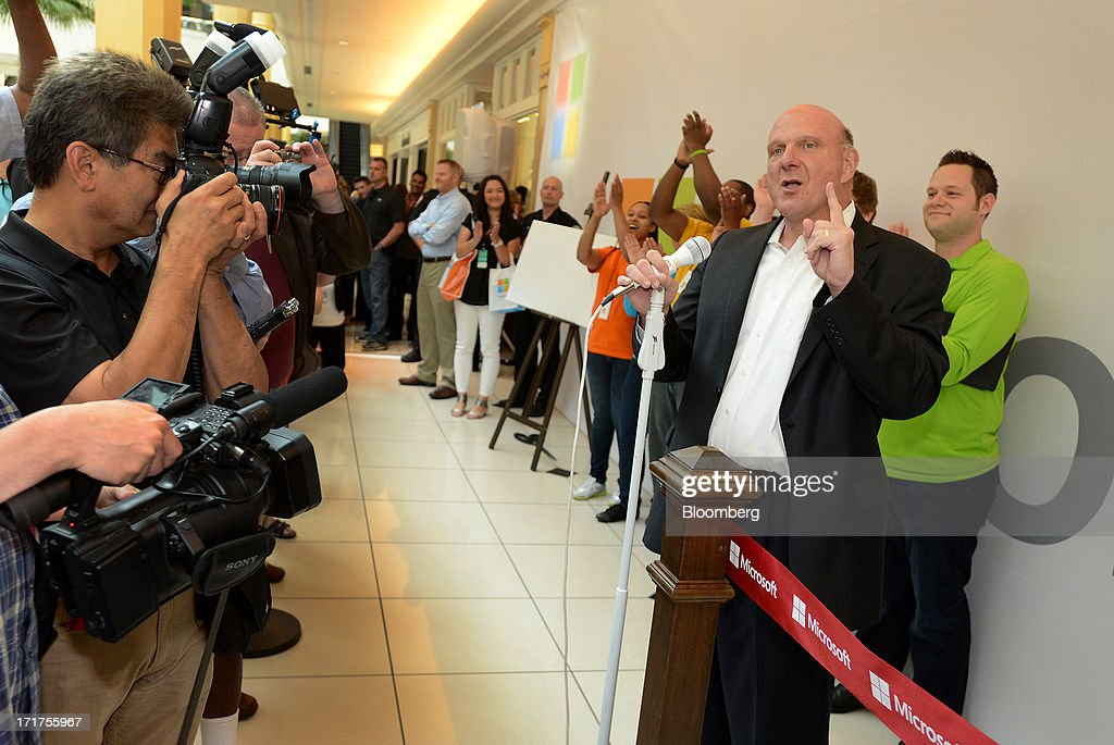 <a gi-track='captionPersonalityLinkClicked' href=/galleries/search?phrase=Steve+Ballmer&family=editorial&specificpeople=211258 ng-click='$event.stopPropagation()'>Steve Ballmer</a>, chief executive officer of Microsoft Corp., speaks to the media during the grand opening of a company store in Troy, Michigan, U.S., on, Friday, June 28, 2013. Microsoft, which has been struggling with the inability of outside retailers to effectively display its products, aims to generate more enthusiasm for them by opening its own stores. Photographer: Bryan Mitchell/Bloomberg via Getty Images