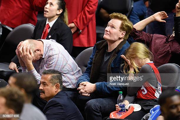 Steve Ballmer Conan O'Brien and Neve O'Brien attend a basketball game between the Houston Rockets and the Los Angeles Clippers at Staples Center on...
