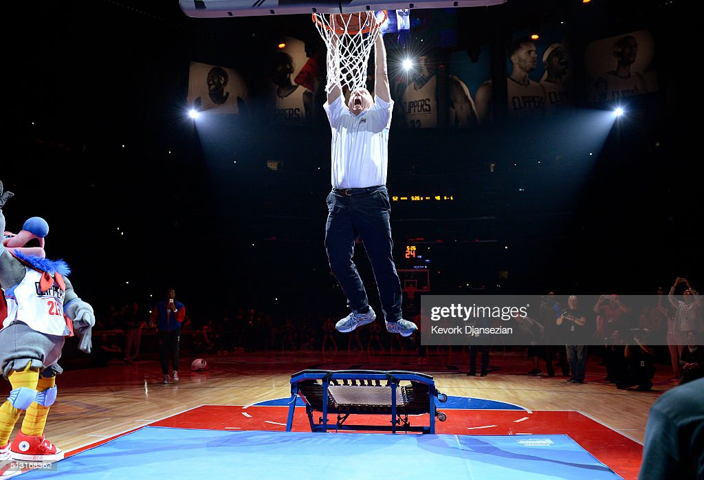<a gi-track='captionPersonalityLinkClicked' href=/galleries/search?phrase=Steve+Ballmer&family=editorial&specificpeople=211258 ng-click='$event.stopPropagation()'>Steve Ballmer</a>, owner Los Angeles Clippers, dunks a basketball after introducing the team mascot, a California Condor named 'Chuck,' during the basketball game against the Brooklyn Nets at Staples Center February 29, 2016, in Los Angeles, California.