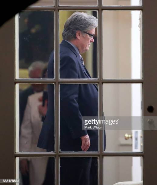 Steve Bannon assistant to the president and chief strategist attends the swearing in of Rex Tillerson as the nation's 69th secretary of state in the...