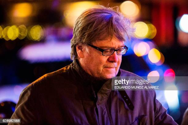 Steve Bannon chief strategist for Donal Trump leaves after the motorcade of US Presidentelect arrived at Trump Tower on December 10 2016 in New York...