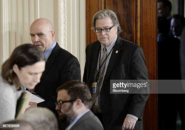 Steve Bannon chief strategist for US President Donald Trump arrives for a joint press conference with US President Donald Trump not pictured and Jens...
