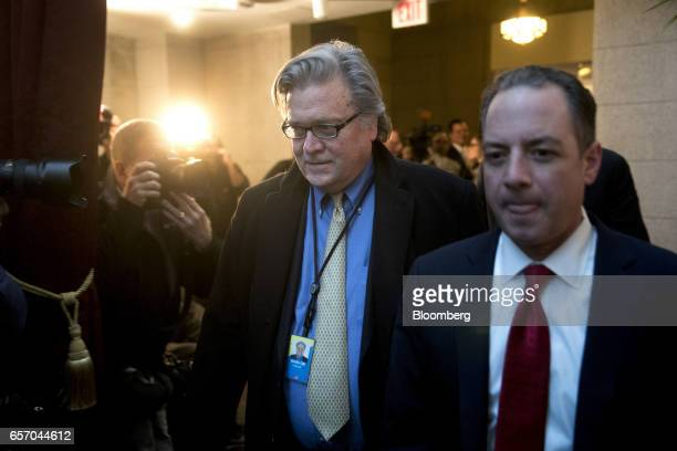 Steve Bannon chief strategist for US President Donald Trump left and Reince Priebus White House chief of staff walk to a House Republican meeting at...