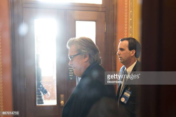 Steve Bannon chief strategist for US President Donald Trump walks towards the office of US House Speaker Paul Ryan a Republican from Wisconsin at the...